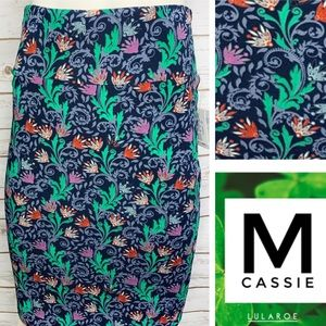 M Cassie blue background floral print pencil skirt